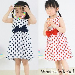 $enCountryForm.capitalKeyWord Canada - Cheap Kids Baby Girls Princess Dresses Chiffon Party Summer Polka Dots Bowknot Dress Red Blue 2015 New Stylish Dress Midi Clothing SV024292