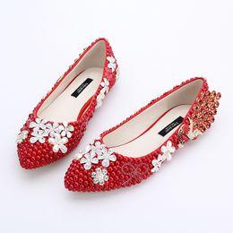Ivory Rhinestones Flats NZ - Classic Women Wedding Shoes Red Pearl Flats Phoenix Rhinestone Bridesmaid Shoes Lady Spring Flat Heel Party Shoes Plus Size