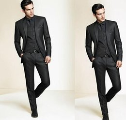 Hommes Slim Fit Forfaits Pas Cher-High Quality Slim Fit Groom Smokings 2016 Side Groomsmen Mens Wedding Prom Suits personnalisé Made (veste + pantalon + Tie + Vest)
