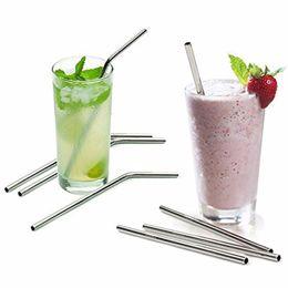 Plus la taille droite et plier la paille en acier inoxydable et brosse de nettoyage réutilisable outil de boire de la barre de paille