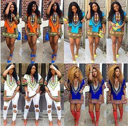 african summer traditional dresses Canada - women summer dress Traditional African Print Dashiki Dress Casual Straight Print O-Neck Above Knee, Mini dresses