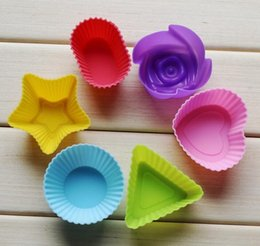Cupcake Muffins Cake Australia - 1lot=6pcs Rose star heart flower Silicone Cake Muffin Chocolate Cupcake Case Tin Liner Baking Cup Mold Mould DHL free