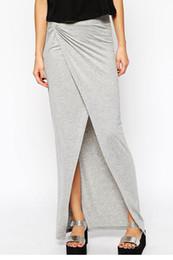 Draped Jersey Canada - Sexy Trendy Gray Jersey Drape Front Slit Maxi Skirt LC71102 FG1511