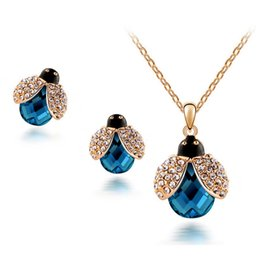 $enCountryForm.capitalKeyWord Canada - Cute Beetle Necklace Earrings Sets South Korean Beautiful Pendant Jewelry Sets For Women Fashion Crystal Jewelry 4006