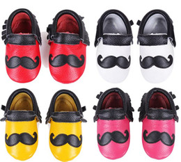 $enCountryForm.capitalKeyWord Canada - 50Pairs Fedex EMS Ship Baby Beard Moccasins Fringe Tassel Boys Leather Moustache Moccs Baby Genuine Leather Walking Shoes prewalker 4Colors