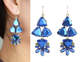 Wholesale Women Rhinestone Acrylic Transparent Triangle Flower Dangle Earrings Gold Tone Fashion Jewelry Pairs