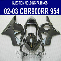 injection honda cbr954rr fairing Canada - Injection molding 7 gifts + Fit for Honda cbr900rr fairings 954 02 03 CBR954RR all glossy black fairing kit CBR900 RR 2002 2003 YR50