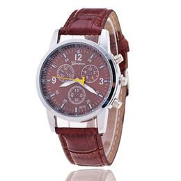 China 2016 Hot Selling Fake Three Eye Roman Numerals Geneva Leather Quartz Watches Men & Women Fashion Wristwatch On Sale cheap geneva roman numeral watch suppliers
