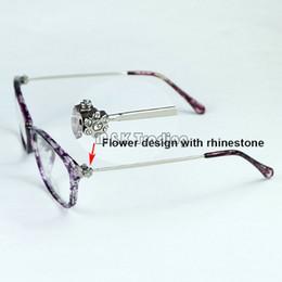 abfc4f979ff 2017 New Fashion Optical Frame Rhinestones Flower On Slim Metal Temples Women  Eyeglasses Frame Very Light 5 Colors