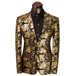 $enCountryForm.capitalKeyWord Australia - Luxury Men Suit Golden Floral Pattern Suit Jacket Men Fit Prom Suits Tuxedo Brand Wedding Party Blazer Jacket