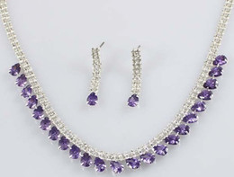 Wedding Crystal Bride Necklace Set Canada - more color crystal drops chain wedding bride set necklace earings (88) dt t