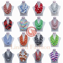 Ring Ties Canada - FEDEX FREE 100pcs 180*50cm 130gEACH cotton 28 Colors Chevron Wave Zigzag Print Infinity Scarf Winter Women Viscose Cycle Ring Scarves