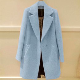 Manteaux Violets Pour Femmes Pas Cher-Gros-New 2015 Fashion Violet Bleu Laine Femmes Manteau Automne Hiver Moyen Long Simple Bouton Trench Ladies Casual manteaux de laine