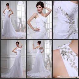 High Quality Wedding Dresses Canada - Cheap in stock hot sale 2015 New Arrival Sheath High Quality Wedding Dresses One Shoulder white chiffon backless Sweep Train new design sexy