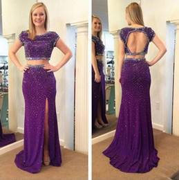 $enCountryForm.capitalKeyWord Canada - Sparkly 2016 Purple Chiffon Open Back Two Pieces Prom Dresses Long Modest Jewel Short Sleeves Fitted Beads Crystal Split Party Gowns EN3086