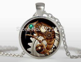 Lizard Pendant Necklace Canada - Steampunk lizard pendant personality clock Necklaces charms Silver plated pendant Jewelry FTC-N322