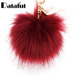Discount unique keychains for men - beijia Unique Faux Rabbit Fur Ball Flower Key Chains Rings Holder Bag Pendant PomPom Keyrings KeyChains For Car For Wome
