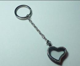 $enCountryForm.capitalKeyWord Canada - 10pcs Vintage Silver Stainless Steel Heart Rhinestone Magnetic Glass Floating Memory Locket Purse Keychain Keys Can Open P2185