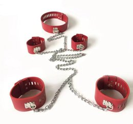 Handcuff Bracelet Sex Pas Cher-Nouveau menottes réglables en cuir et bracelets de cheville pour les adultes Flirt Sex Games Plus Bénéficiant Obsessive Foreplay Bondage Adulte esclave BDSM
