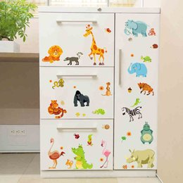 nursery stickers jungle UK - Jungle Forest animals zoo lion elephant snake diy home decals wall stickers Safari nursery rooms kids bedroom decoration gifts