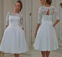 Sheer Black Shirt Pockets NZ - Modest Vintage Lace Wedding Dresses A Line Sheer Neck Lace Up Short Wedding Bridal Gowns With Pocket Half Sleeves plus size wedding dresses