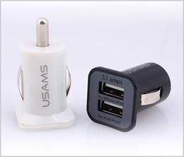 Usams 3.1a carregador de carro usb adaptador de carregador de porta dupla 5 v 3100 mah para iphone samsung htc mq100 venda por atacado