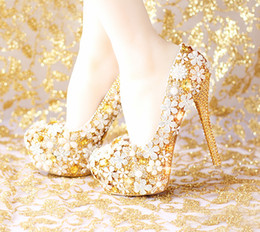 Comfortable Platform Wedding Shoes Canada - Fashion Comfortable Gold Wedding Shoes Women Shoes Platform High Heels Rhinestone Bridal Shoes Handmade Genuine Leather
