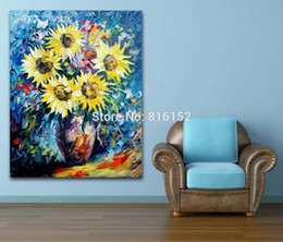 modern flower oil painting canvas Canada - Modern Charming and Colorful Flowers Palette Knife Oil Painting Printed On Canvas Wall Art Picture For Office Home Art Decor