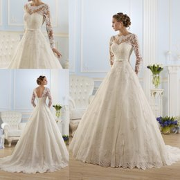 Discount corset wedding dresses - 2016 Spring Fall Arabic Dresses A-Line Sheer Wedding Dresses Vestidos De Noiva Crew Neck Long Sleeves Lace Corset Back S