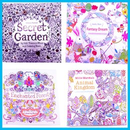 Adult Coloring Books 4 Designs Secret Garden Animal Kingdom Fantasy Dream And Enchanted Forest 24 Pages Kids Painting Colouring