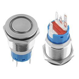 China 10 pcs lot 19mm 12V Red LED Ring Illuminated ON Off Push Button Self Locking Flat Free shipping, dandys suppliers