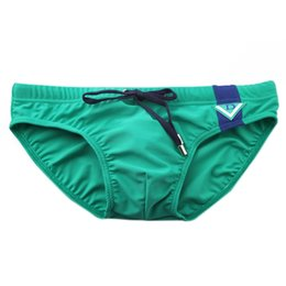 swimwear men slip Canada - Wholesale-2016 Newest Summer Style 4 Colors Men Swimwear Sexy Slips Nylon Tied Rope Swim Briefs Swimming Trunks Beachwear M L XL