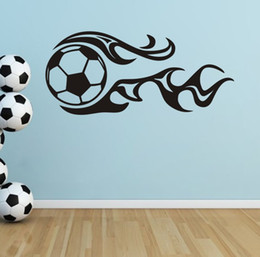 Discount Football Wall Murals For Kids New Football Fire Soccer World Cup  Vinyl Wall Sticker Wall