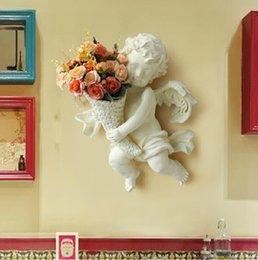 Vaso di fiori in seta a parete in resina di protezione dell'ambiente e anti-europeismo angelo ramo di fiore in lega artificiale angolo di vendita