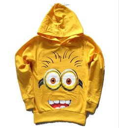 Sac À Main Hoodie Minion Méprisable En Gros Pas Cher-Gros-2015 Nouveau automne bébé garçon sweat coton Cartoon chandail à capuchon hoodies méprisables me minion capuche couverture bébé garçon