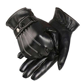 $enCountryForm.capitalKeyWord Canada - Korean Mens Luxurious PU Leather Thick Winter Button Touch Screen Cashmere Unisex Gloves Black Riding Gloves