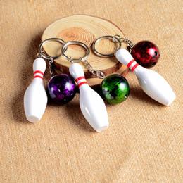 $enCountryForm.capitalKeyWord NZ - New fashion Bowling keychain plastic 4 colors key ring pendant simulation keychain keyring can custom logo