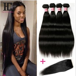 Discount sells hair weaves - 7A Brazilian Virgin Straight Hair With Closure Hot Selling Straight Wave Virgin Human Hair Brazilian Virgin Hair With Cl
