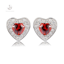 $enCountryForm.capitalKeyWord Australia - 925 sterling silver Favourite Earrings Noble Generous Best Sellers S-3749 Casual Red Cubic Zirconia First class products Recommend Promotion