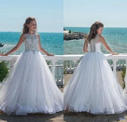Wholesale 2018 Girls Pageant Dresses White Jewel Neck Silver Beads Crystal Sleeveless Button Back Beach Organza Kids Flower Girls Dress Birthday Gowns