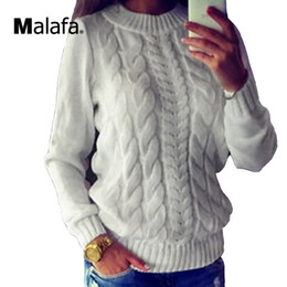 Wholesale- Ladies Knitted Sweaters Tops Women Vintage Long Sleeve Knitwear Jumper O Neck Gray White Fashion Pullover Sweater