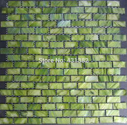 Mother Of Pearl Shell Mosaic Tiles Green Brick Tile 15 30 2 Factory Direct Sale Decoration Material Kitchen Backsplash Tiles