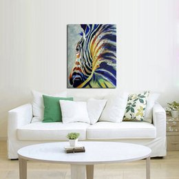 Best Canvas Wall Decor Canada - Abstract Home Decor Wall Art Handpainted Oil Painting Beautiful Cute Zebra Paintings on Canvas Modern Art Best Gift Pictures