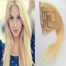 Bleach Blonde Human Hair Extensions NZ - 613 Bleach Blonde hair virgin thick clip in hair extension 100g 7pcs Lot Straight african american clip in human hair extensions