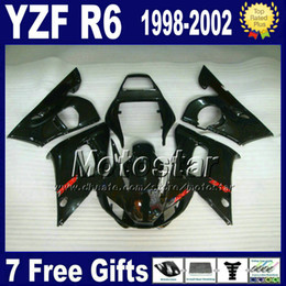 Plastics for 1999 yamaha r6 online shopping - ABS fairing body kit for YAMAHA YZF R6 all glossy black plastic bodywork set YZF600 YZFR6 VB32 gifts