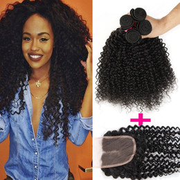 Discount afro curly human hair extensions - 7A Remy Afro kinky Curly Virgin Hair lace closure free or middle part with 3 Bundles Brazilian Kinky Curly Human Hair hu