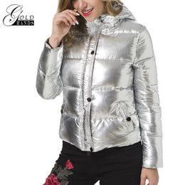 Señoras Short Parkas Baratos-Gold Hands Mujeres Chaquetas de invierno Solid Metal Color Sliver Abrigos cortos Mujeres Parka Ladies Hooded Fashion Casual Ropa de abrigo