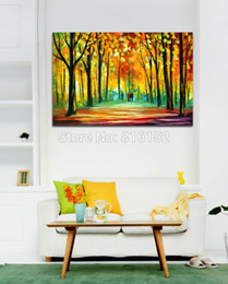 Charming Fall Park Forest Alley Landscape Palette Knife Painting Canvas Prints Modern Mural Art For Home Living Hotel Office Wall Decor