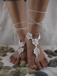 Beach Wedding Crochet White Barefoot Sandal Feet Thongs Shoes Accessory Nude Victorian Sexy Lace Gift For Her JL002