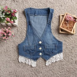 vestidos blue jeans NZ - Wholesale-Jeans Vest Cotton Vestidos Vintage Washed Lace Patchwork Bow Desigh Single Breasted Denim Vest Color Light Blue,Dark Blue 45003J